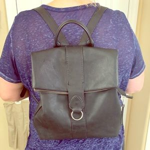 Black Fashionable Faux Leather Backpack